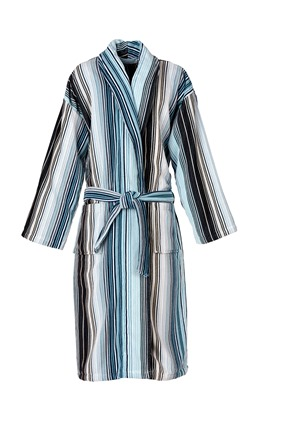 Capsule Stripe Robe in Aqua